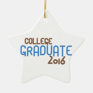Funky College Graduate 2016 (Blue) Ceramic Star Ornament