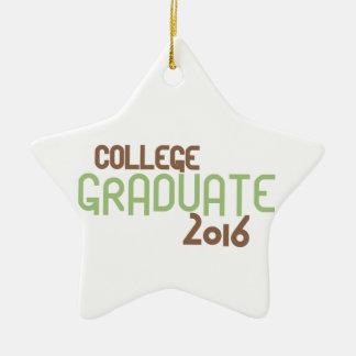 Funky College Graduate 2016 (Green) Ceramic Star Ornament