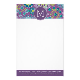 Funky Colorful Floral Pattern Custom Monogram Stationery