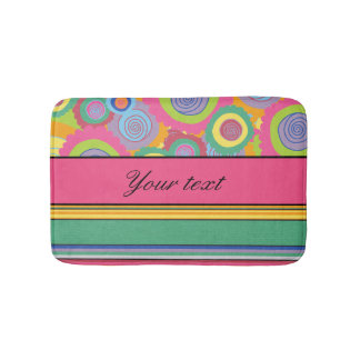 Funky Colorful Flowers and Stripes Bathroom Mat