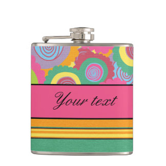 Funky Colorful Flowers and Stripes Flasks
