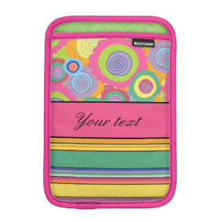 Funky Colorful Flowers and Stripes iPad Mini Sleeve