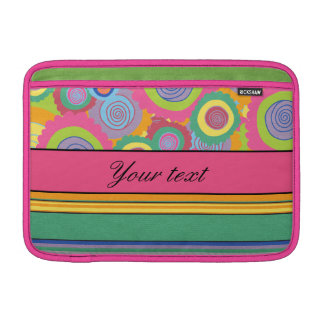 Funky Colorful Flowers and Stripes MacBook Sleeve
