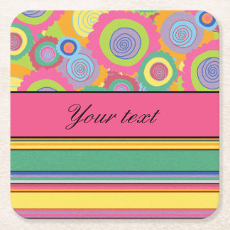 Funky Colorful Flowers and Stripes Square Paper Coaster