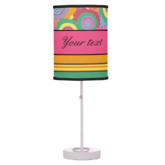 Funky Colorful Flowers and Stripes Table Lamps
