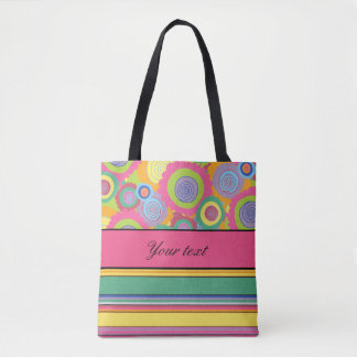Funky Colorful Flowers and Stripes Tote Bag