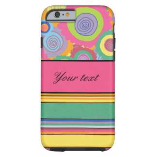 Funky Colorful Flowers and Stripes Tough iPhone 6 Case