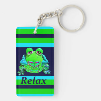 Funky Colorful Frog RELAX Teal Lime Navy Keychain