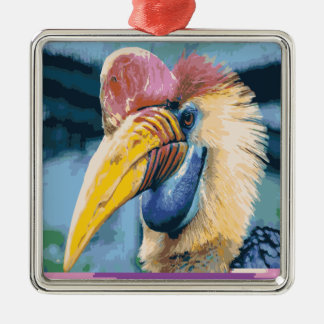 Funky Colorful Hornbill Tropical Bird Art Silver-Colored Square Ornament