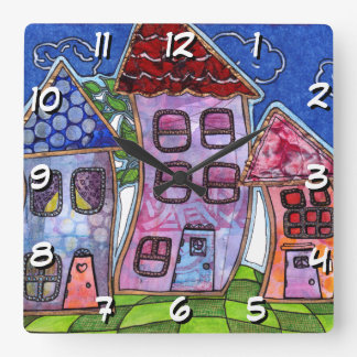 Funky Colorful Houses Square Wall Clock