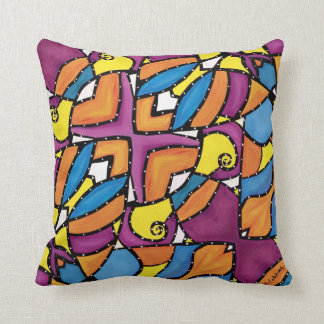 Funky Colorful Pattern Purple Back Throw Pillow