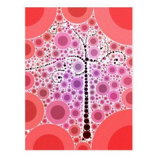 Funky Colorful Scroll Tree Circles Bubbles Pop Art Postcard