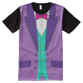 Funky Colors Tuxedo Bowtie and Vest All-Over-Print T-Shirt