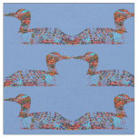 Funky Coloured Loons on Cornflower Blue Fabric