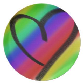 funky coloured love heart plates