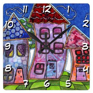 Funky Colourful Houses Wallclocks