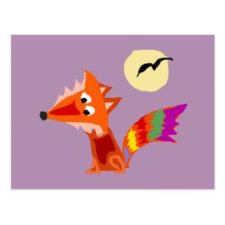 Funky Colourful Red Fox Art Design Postcard