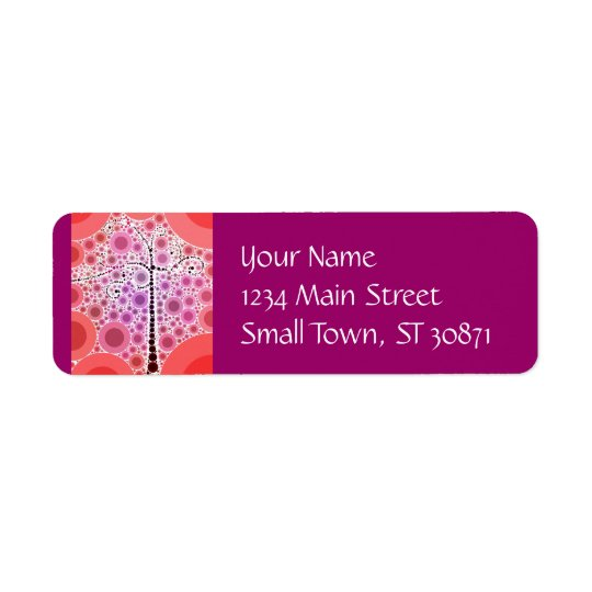 Funky Colourful Scroll Tree Circles Bubbles Pop Return Address Label