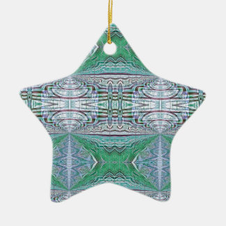 Funky Cool Blue Green Kaleidoscope Tribal Pattern Ceramic Ornament