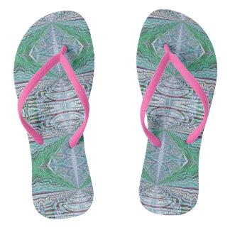 Funky Cool Blue Green Kaleidoscope Tribal Pattern Flip Flops