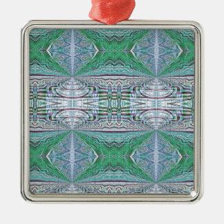 Funky Cool Blue Green Kaleidoscope Tribal Pattern Metal Ornament