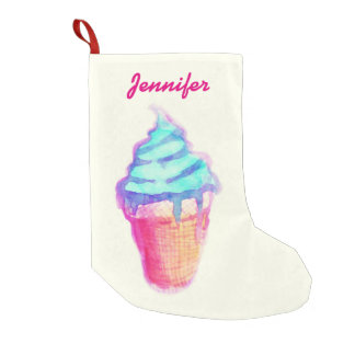 Funky Cool Drippy Ice Cream Cone in Watercolors Small Christmas Stocking