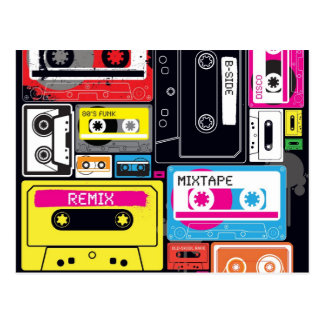 Funky Cool Mix Tapes Design Postcard