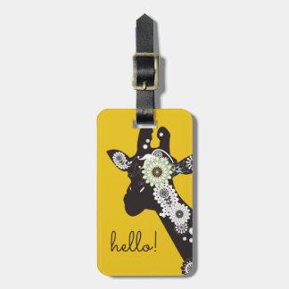 Funky Cool Paisley Giraffe Funny Animal Yellow Luggage Tag
