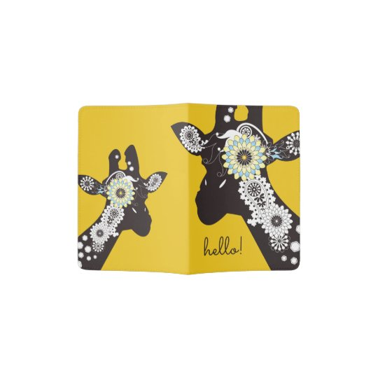 Funky Cool Paisley Giraffe Funny Animal Yellow Passport Holder