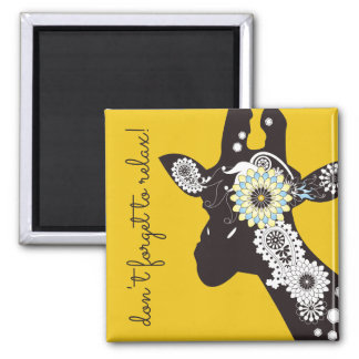 Funky Cool Paisley Giraffe Personalized Yellow Square Magnet
