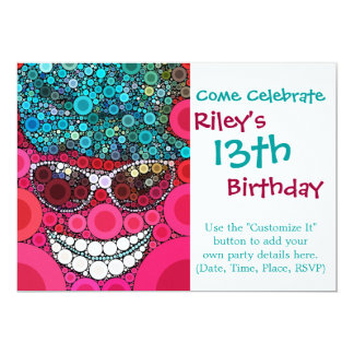 "Funky Cool Smiling Face Sunglasses Hat Pink Blue 5"" X 7"" Invitation Card"