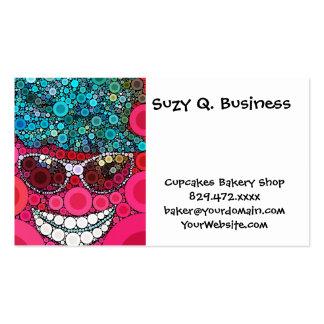 Funky Cool Smiling Face Sunglasses Hat Pink Blue Business Card Templates
