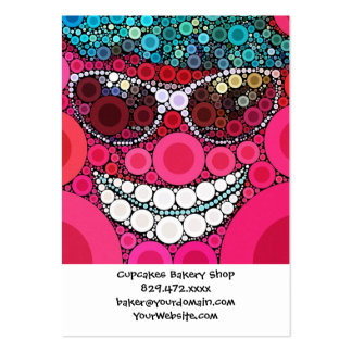 Funky Cool Smiling Face Sunglasses Hat Pink Blue Large Business Card