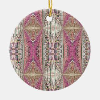 Funky Cool Tan Pink  FeminineTribal Pattern Ceramic Ornament