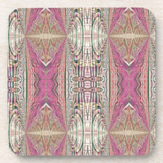 Funky Cool Tan Pink  FeminineTribal Pattern Coaster