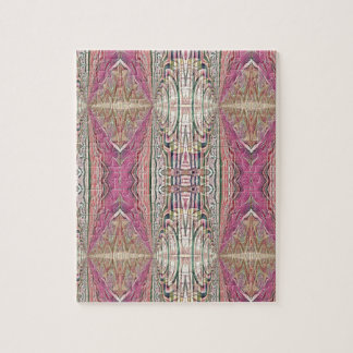 Funky Cool Tan Pink  FeminineTribal Pattern Jigsaw Puzzle