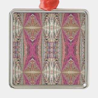 Funky Cool Tan Pink  FeminineTribal Pattern Metal Ornament