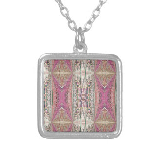Funky Cool Tan Pink  FeminineTribal Pattern Silver Plated Necklace