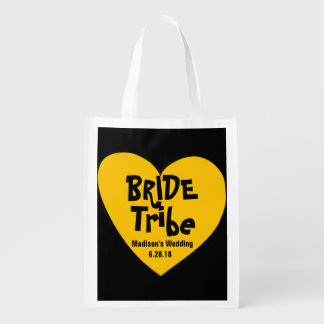 Funky & Cool Yellow Heart Bride Tribe Reusable Grocery Bag