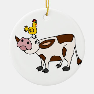 Funky Cow with Chicken on Her Head Cartoon Round Ceramic Ornament