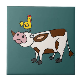 Funky Cow with Chicken on Her Head Cartoon Tile
