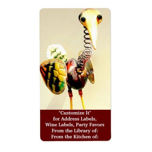 Funky Crane Bird Metal Garden Ornament Folk Art Shipping Labels