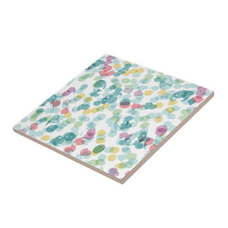 Funky Cute Colorful Happy Summer Polkadots Pattern Tile