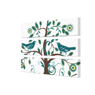 Funky Cute Teal  Vintage Love Birds Swirly Tree Canvas Print