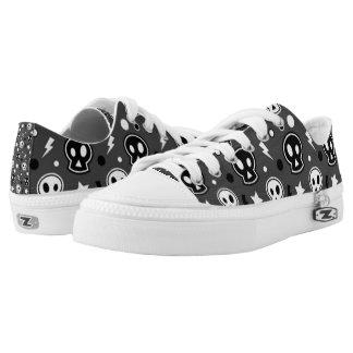 Funky Dark Skull Pattern Low-Top Sneakers