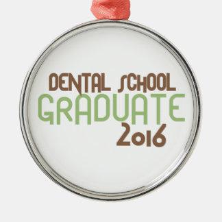 Funky Dental School Graduate 2016 (Green) Silver-Colored Round Ornament