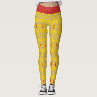 Funky diamond strip mustard yellow red leggings