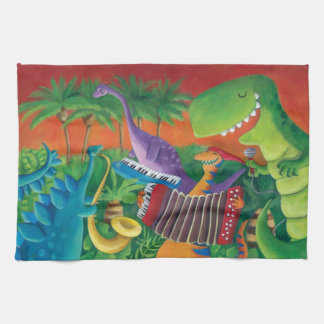 Funky Dinosaur Band Hand Towels