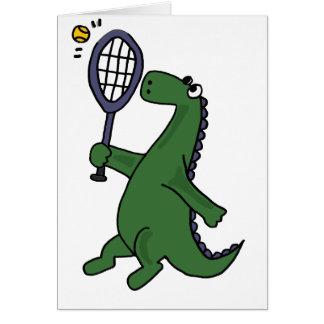 Funky Dinosaur Playing Tennis Cartoon Card