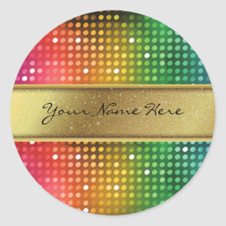 Funky Disco Lights with Gold Glitter Name Stripe Round Sticker